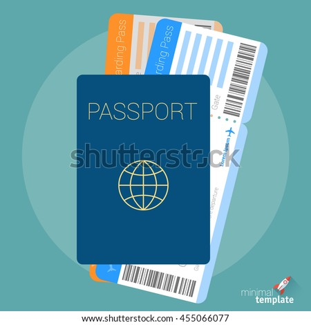 Flat design travel passport and air ticket icon for application interface, presentation, web design and mobile app. Passport icon. Air ticket icon. Passport and boarding pass icon vector concept