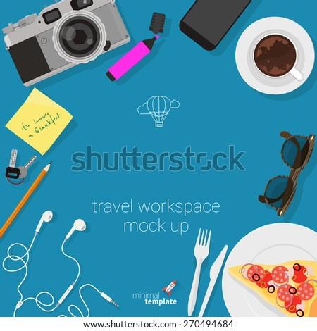 Flat design travel workspace. Minimalist vector template.  - stock vector
