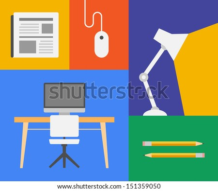 Flat design trendy vector illustration icons of office and business objects. Isolated on colored background - stock vector