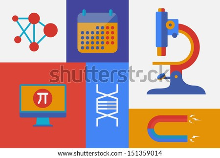 Flat design trendy vector illustration icons on science and research theme. Isolated on retro colored background - stock vector