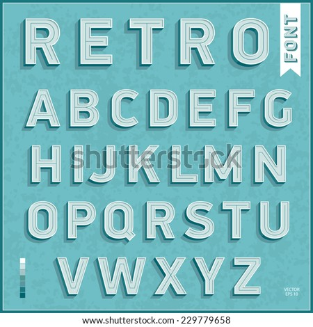 Flat design type font, vintage typography. Vector illustration. - stock vector