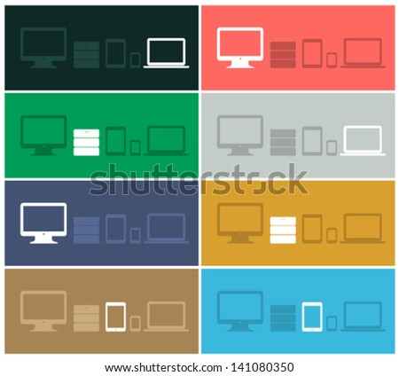 Flat design ui device icons of pc, monitor, database, pda, phone on different colored backgrounds