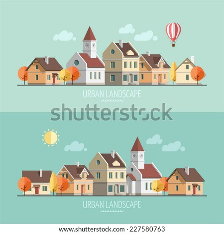 Flat design urban landscape. Autumn - vector illustration.