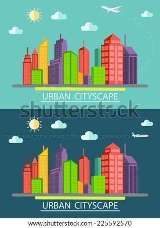Flat design urban landscape illustration - stock vector