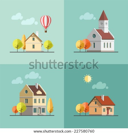 Flat design urban landscape set of buildings.Autumn - vector illustration. - stock vector