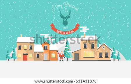 Flat Design Urban winter landscape. Snowy street. Christmas card Happy Holidays banner. Vector illustration