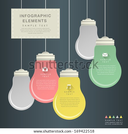 flat design vector abstract bulb infographic elements - stock vector