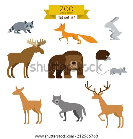 Flat design vector animals icon set. Bear, fox, hare, rabbit, moose, hedgehog, mouse, deer, wolves. Flat zoo children cartoon collection. - stock vector