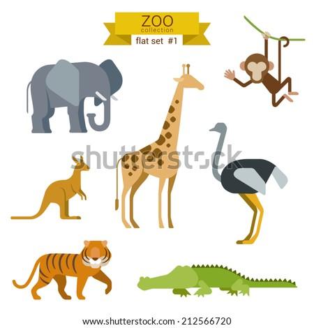 Flat design vector animals icon set. Elephant, giraffe, monkey, ostrich, kangaroo, tiger,  crocodile. Flat zoo children cartoon collection. - stock vector