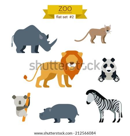 Flat design vector animals icon set. Lion, panda, zebra, koala, hippo, rhino, lynx. Flat zoo children cartoon collection. - stock vector