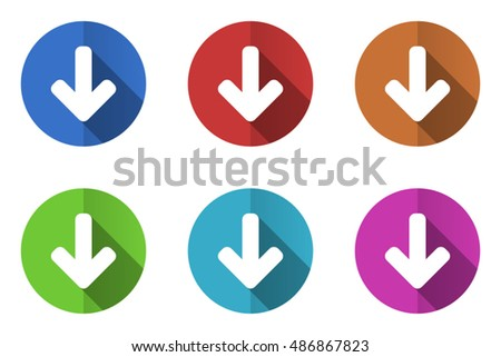 Flat design vector arrow icon set. Eps 10 web colorful buttons.