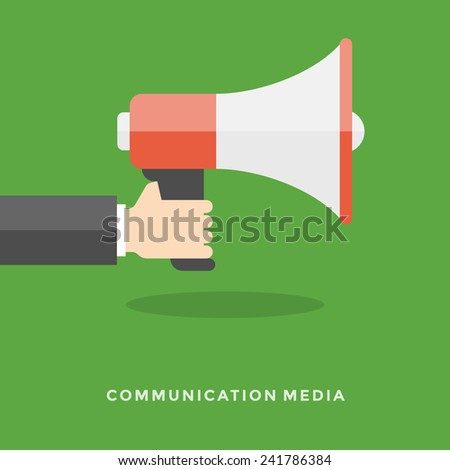 Flat design vector business illustration concept Digital marketing business man holding megaphone for website and promotion banners. - stock vector