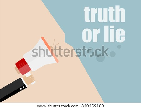 Flat design vector business illustration concept Digital marketing business man holding megaphone for website and promotion banners. Truth or lie. - stock vector