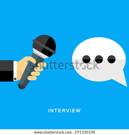 Flat design vector business illustration concept Interview hand holding microphone.  - stock vector