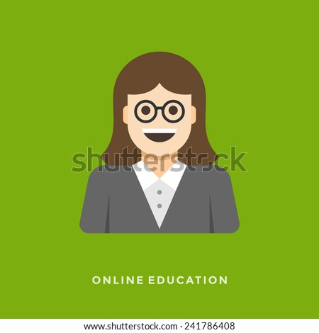 Flat design vector business illustration concept Online lessons woman teacher character for website and promotion banners. - stock vector