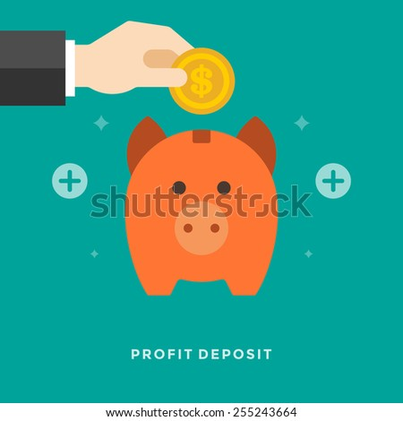 Flat design vector business illustration concept Profit deposit Piggy bank and hand holding money coin for website and promotion banners.  - stock vector