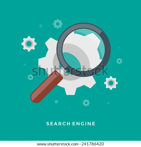 Flat design vector business illustration concept Search Engine Optimization magnifying glass and gears for website and promotion banners. - stock vector