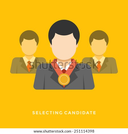 Flat design vector business illustration concept Selecting candidate businessman with medal for website and promotion banners.  - stock vector