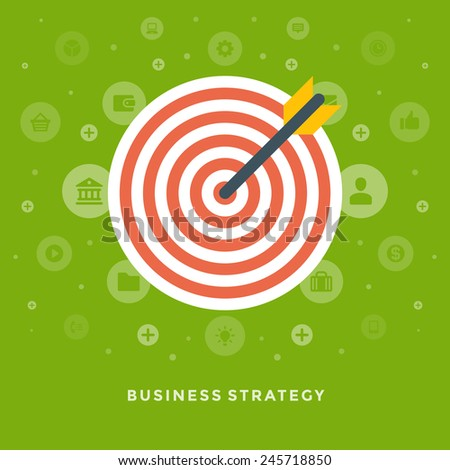 Flat design vector business illustration concept strategy arrow and dart board for website and promotion banners.  - stock vector