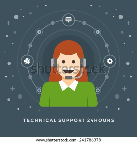 Flat design vector business illustration concept Technical support 24 hours woman consultant character for website and promotion banners. - stock vector