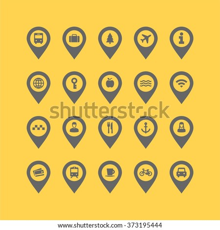 Flat design vector collection of different transport and way finding map pointers with icons. Cars, taxis,bus, train, people and other travel icons.