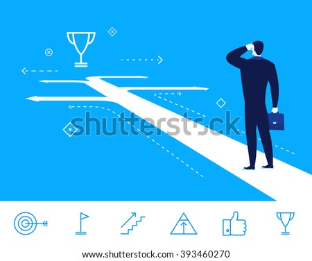 Flat design vector concept illustration. businessman making the right choice.  Good profit. Vector clipart. Icons set. - stock vector