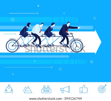 Flat design vector concept illustration. Teamwork. businessman and businesswoman sitting on the bike. Go to the target.  Vector clipart. Icons set. - stock vector