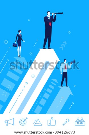 Flat design vector concept illustration. Teamwork. Searching for opportunities. Choose the right path. Vector clipart. Icons set. - stock vector