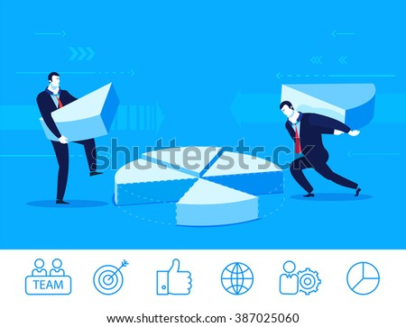 Flat design vector concept illustration. Two businessmen collect chart . Vector clipart. Icons set. - stock vector