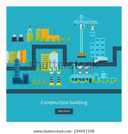 Flat design vector concept illustration with icons of building construction, urban landscape and industrial factory buildings. Horizontal banners. - stock vector
