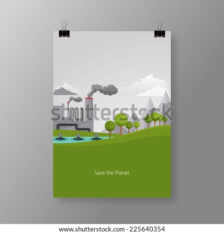 Flat design vector concept illustration with icons of ecology, and pollution  - stock vector