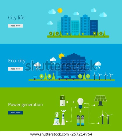 Flat design vector concept illustration with icons of ecology, city life, eco-city, power generation, eco friendly energy and green technology.
