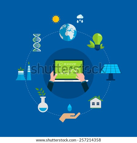 Flat design vector concept illustration with icons of ecology, environment and eco friendly energy. Concept of running a clean house and green energy - stock vector