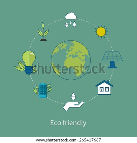 Flat design vector concept illustration with icons of ecology, environment and eco friendly energy. Thin line icons. Modern flat line design element vector