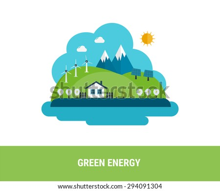 Flat design vector concept illustration with icons of ecology, environment and green energy  - stock vector