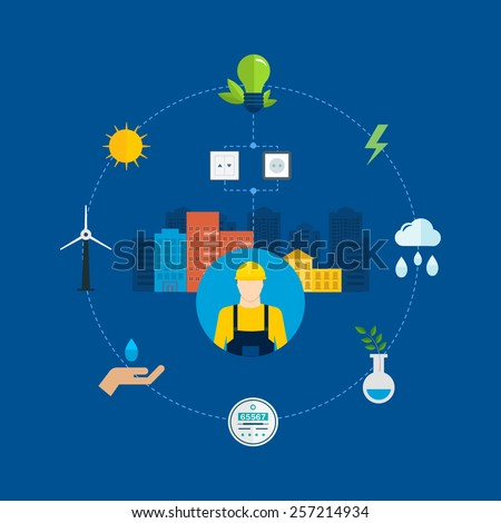 Flat design vector concept illustration with icons of ecology, environment, eco friendly energy and and green technology. Concept of green building and clean energy - stock vector