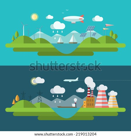 Flat design vector concept illustration with icons of ecology, environment, green energy and nature pollution - stock vector