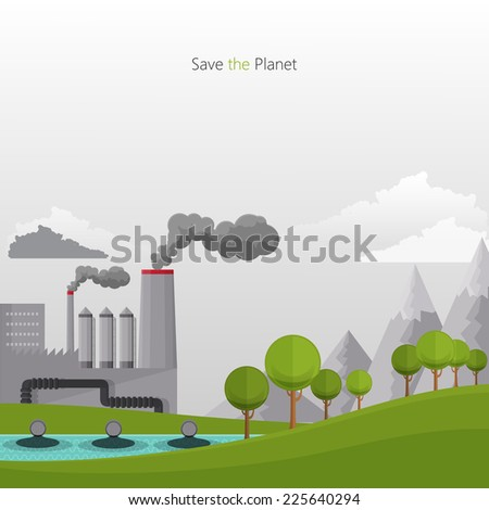 Flat design vector concept illustration with icons of ecology, pollution  - stock vector