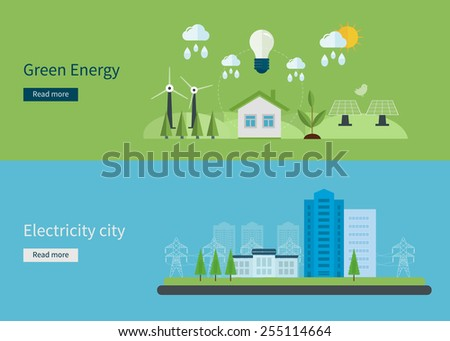 Flat design vector concept illustration with icons of green energy, eco friendly and electricity city. Vector illustration