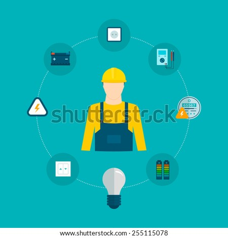 Flat design vector concept illustration with icons of household power professional electrician and electricity. Vector illustration - stock vector