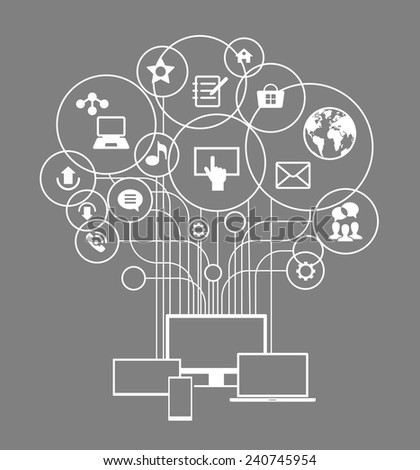 Flat design vector concept network communication. Smartphone, tablet, laptop, monitor surrounded interface icons and abstract network as a tree.