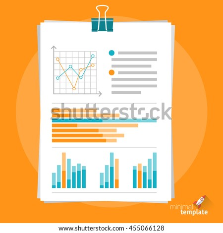 Flat design vector document clipboard icon  for application interface, presentation, web design and mobile app. Office document chart icon. Clipped papers icon with charts and infographics. - stock vector