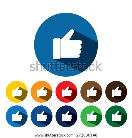 flat design vector icon of approval used in social media. this also represents concepts like endorse, accredit, vote, recommend, praise, appreciate, like on blue and 10 different background colors - stock vector