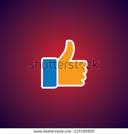 flat design vector icon of approve symbol used in social media websites. this also represents concepts like endorse, accredit, vote, recommend, praise, appreciate, like - stock vector
