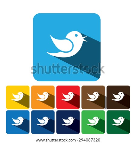 flat design vector icon of bird for communication on internet, mobile phones, sites - graphic on blue and 10 different background colors - stock vector