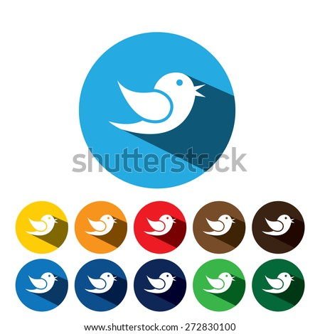 flat design vector icon of bird for communication on internet, mobile phones, social media sites - social media graphic on blue and 10 different background colors - stock vector