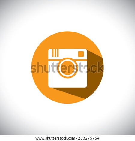 flat design vector icon of camera for photo sharing on internet, mobile phones, social media sites - social media graphic - stock vector