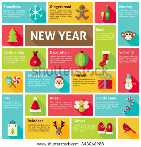 Flat Design Vector Icons Infographic Happy New Year Concept. Design elements for mobile and web applications with long shadow. Merry Christmas winter holiday. - stock vector