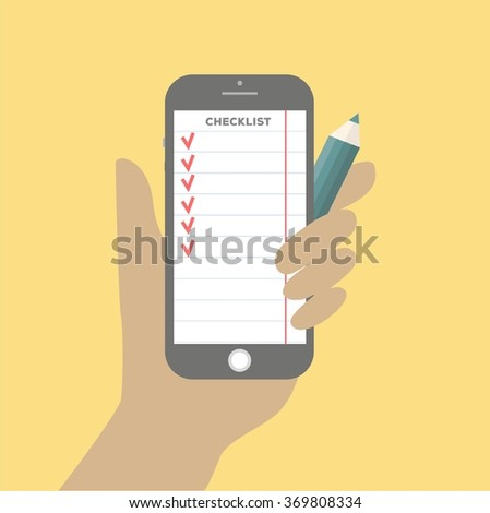 Flat design vector illustration concept for checklist, app interface design with icons on mobile display