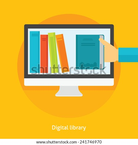 Flat design vector illustration concept for digital library, online book store, e-reading isolated bright background  - stock vector